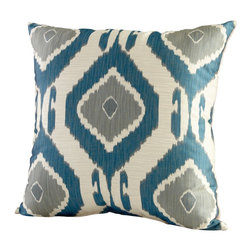 Cyan Design - Cyan Design Navaho Pillow - Tribal patterning has been paired with pops of color for a delightful look to this Cyan Design pillow. From the Navaho Collection, the pattern is accentuated by shades of smoke and blue, set against a contemporary off-white backdrop that pulls the look together.