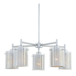 George Kovacs - P965 Grid II Chandelier - P965 Grid II Chandelier features fives Clear outer shades with Chrome Mesh inner shade and Chrome finish.  Also available in a 3-light pendant, single pendant, mini pendant and wall sconce version.  Five 100 watt 120 volt A19 incandescent lamps not included.  23.75 inch diameter x 8.75 inches high.  Height adjustable from 16.75 inch minimum to 52.75 inch maximum.  UL listed.