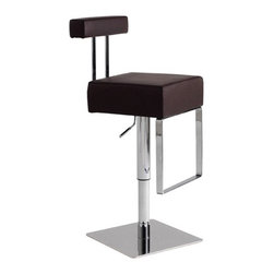 """Nuevo - Aria Adjustable Bar Stool in Chocolate - Decorate your bar area with the ultra modern Bloc Adjustable Stool. This stool's base is constructed of plate steel with a stainless steel cover plate and chromed hydraulic cylinder. The hardwood seat frame is thickly padded with CFS foam and covered in top grain Italian leather. Features: -Aria Adjustable Bar Stool. -Chocolate finish. -Plate steel, �"""", with Stainless steel cover plate. -Chromed hydraulic cylinder. -Hardwood seat frame, CFS foam. -Top grain Italian leather finish. -Overall Dimensions: 31 - 38.5"""" H x 14.5"""" W x 18.5"""" D."""