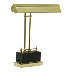 "House of Troy - Battery Operated LED Piano Lamp Black/Brass - Dimensions: 14""D, 14""W, 6.25""D. Shade Size: 14"""