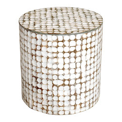 Jeffan Juliette Coco End Table - Add some originality to your room with this whitewashed circular end table.