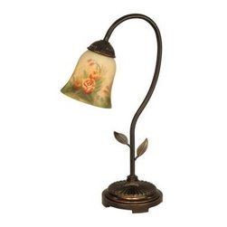 Dale Tiffany - Desk Lamps: 18.5 in. Rose Dome Dark Antique Brass Accent Lamp TA10210 - Shop for Lighting & Fans at The Home Depot. Tiffany was well known for his love of nature and the outdoors. Once again, our designers have faithfully recreated that love in our Rose Dome accent lamp. A delicate tulip shade features a sunny light amber background. A field of beautiful peach and pink roses, along with lush greenery has been painstakingly painted by hand in reverse on the shade s inside. The shade hangs from a gracefully curved metal stem, complete with cut leaf details atop a finely cast metal base. This accent lamp adds an elegant floral touch when used as an accent lamp; it also makes the ideal desk lamp on a genteel writing desk.