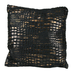 Brandi Renee Design - Mozambique Animal Black Print Design Pillow - Our charcoal black animal print pillow design has vibrant hues of dark black, bronze and a soft touch of gold and its amazingly soft and comfy feel never fails to draw to your attention. This croc pillow shouts luxurious and adds that extra touch of fashion to any room.