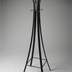 Butler - Butler Metalworks Black Standing Coat Rack - 2663025 - Shop for Coat Hooks and Racks from Hayneedle.com! The Butler Metalworks Black Standing Coat Rack is a bold design for the modern decor. This tall organizer features an unconventional look that shows off graceful curves a Metalworks black finish and an impressive array of hooks for hanging over 10 coats and hats without doubling-up. This highly appealing coat rack is constructed of a wooden frame with rounded metal hardware that s gentle on garments.About Butler SpecialtyButler Specialty Company has been designing and manufacturing high-quality occasional and accent furniture since 1930. Each piece reflects Butler's dedication to enduring design exquisite craftsmanship and top-quality materials. This family-owned company is based in Chicago. They scour the globe in search of the finest materials and most efficient means of production reflecting their commitment to providing excellent quality at exceptional value.