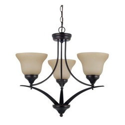 Sea Gull Lighting Brockton 3-Light Chandelier - 23.25W in. Burnt Sienna - Not only do the upward-facing lights of the Sea Gull Lighting Brockton 3-Light Chandelier - 23.25W in. Burnt Sienna offer a classic style, but they also help to fill any room with a cozy, diffuse light. The trio of scavo glass shades are supported by an open, metal chandelier that's finished in a rich, classic brown hue. 36 inches of hanging chain and 120 inches of supply wire make sure that you can find the best height to fit your space.