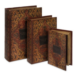 Faux Leather Book Box Collection Set of 3 - *Traditional faux leather red/golden filigree detailed jarrow book box collection
