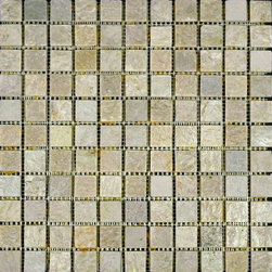 "Glass Tile Oasis - Dust White Cleft-Sold by the Box 1"" x 1"" Cream/Beige Kitchen Polished Slate - Sheet size:  12 3/4"" x 12 3/4"".        Tile Size:  1"" x 1""         Tiles per sheet:  121        Tile thickness:  1/4""        Grout Joints:  1/8""        Sheet Mount:  Mesh Backed        Stone tiles have natural variations therefore color may vary between sheets.   Sold by the box - 10 sheets per box    -  Customize your hardest working surfaces with our Slate series. Choose from many patterns and an array of colors in honed and cleft finishes."