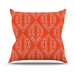 """Kess InHouse - Anneline Sophia """"Laurel Leaf Orange"""" Red Floral Throw Pillow (Outdoor, 26"""" x 26"""" - Decorate your backyard, patio or even take it on a picnic with the Kess Inhouse outdoor throw pillow! Complete your backyard by adding unique artwork, patterns, illustrations and colors! Be the envy of your neighbors and friends with this long lasting outdoor artistic and innovative pillow. These pillows are printed on both sides for added pizzazz!"""