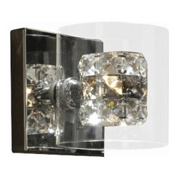 "Schuller - Schuller Flash Wall Sconce - The Flash Wall Sconce has been made by Schuller in Spain. Double glass shade, exterior of molded glass and interior of clear and smoke faceted crystals The lamping comes with 1 x G9 max 53W halogen bulbs (Not included)   The Flash Wall Sconce has been made by Schuller in Spain Double glass shade, exterior of molded glass and interior of clear and smoke faceted crystals The lamping comes with 1 x G9 max 53W halogen bulbs (Not included)      Manufacturer: Schuller   Designer: Schuller    Made in: Spain    Dimensions:  Height:5.12"" (13 cm) X Depth:5.71"" (14.5 cm) X Width:5.12"" (13 cm)      Lamping:  1 X G9 Max 53W Halogen (Not included)     Material: Metal, glass"