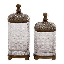 Abstract Polystone Glass Jar, Set of 2 - Description: