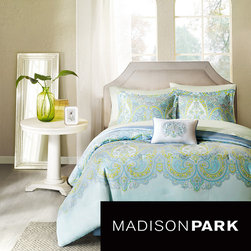 Madison Park - Madison Park Essentials Carly 9-piece Bed in a Bag with Sheet Set - This set includes printed green sheets and the Carly aqua blue comforter features teal blue and lime green paisley with a hint of brown in the pattern. The set is made from soft microfiber polyester and is machine washable for easy care.