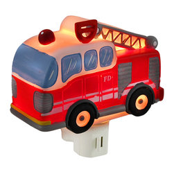 Zeckos - Children's Red Fire Truck Night Light Nite Lite - This bright red fire truck adds an adorable accent to your child's room while illuminating the night hours to keep monsters away. Made of cold cast resin, it measures 4 1/2 inches long, 4 1/4 inches tall, and 2 inches deep. It has a 360 degree swivel plug to accommodate any outlet, and it uses a 7 watt (max) type C night light style bulb (included). The light has an on/off switch on the front, and is recommended for children ages 6 and up.