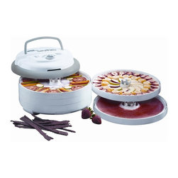 Metal Ware Corporation - Nesco Snackmaster Pro Food Dehydrator - Includes five drying trays, two clean-a-screens, two fruit roll sheets, original jerky spice. Adjustable thermostat (95-160� F) provides the flexibility to produce the best drying results. Top mounted fan and 700 watts of drying power generate maximum speed and quality for dehydrating fruits, vegetables and jerky. Opaque vita-save exterior helps block harmful light which destroys nutritional content of food being dehydrated. Patented converge-flow drying system forces air down the exterior pressurized chamber for faster drying and no flavor mixing. Sleek, contemporary design. Warranty: One year. Gray and marble color. 14 in. L x 14 in. W x 10.88 in. (8.5 lbs.)The Snackmaster Pro is one of the newest dehydrators in the Nesco/American Harvest product line. Helps dry food in hours, not days like ordinary food dehydrators. Makes delicious Beef Jerky even turkey jerky, and fish jerky. Make trail mix, homemade yogurt, apple snacks, banana chips, dried soup mixes, dried tomatoes, watermelon, cantaloupe, honeydew, mangoes, papaya and other dried fruits at a fraction of the cost. Make dried herbs and spices; also make potpourri and dried flowers for any occasion.