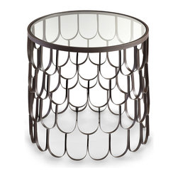 Bradley Table - Oblong scales finished in a deep graphite create openwork walls for the cylindrical Bradley Table. Possessing the presence and solidity of a solid pedestal side table but allowing light and color to pass through its walls, this accent surface both provides a strong large-scale pattern to deepen your room's interest and makes the most of your floor space.