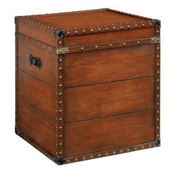 Home Decorators Collection - Square Steamer Trunk End Table - Built of quality wood veneer, the Steamer Trunk End Table will accentuate the look of your living room for years to come. With its smooth, rich finish and lovely antique details, you are sure to love the rustic, distinguished effect it has on your living room furniture arrangement. Order yours today. Constructed from quality wood veneer for lasting beauty and use. Studded metal accents throughout. A rich brown finish completes the look.