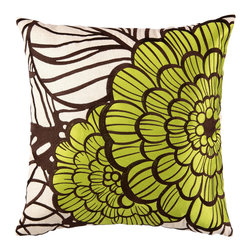 """Trina Turk - Trina Turk Jungle Bloom Green Embroidered Linen Pillow - Final Sale - A fun and festive modern floral, the Jungle Bloom throw pillow by Trina Turk bursts with vivid color in citrine green and deep brown. Handcrafted with a focus on contemporary style for your bedroom, den or living space. Pillow measures 20"""" x 20""""; Linen pillow with embroidered detail; Hidden zipper closure; Down pillow insert included"""