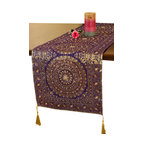 Banarsi Designs - Oriental Dabka Table Runner - Design a table that's sure to impress. This elaborate hand-embroidered table runner is a surefire accessory for any dining room. The shimmering metallic thread work and decorative tassels give it an exotic flair that everyone will admire.