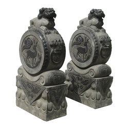 """Golden Lotus - Pair Chinese Antique Hand Carving FenShui Drum Foo Dog Statue - This is an elegant pair of stone foo dog.   This particular foo dog is different with traditional foo dog, and the foo dog is standing on a drum. The drum has deer and dragon carving on it.  There also have very beautiful carving detail on the base.  You can put this pair of foo dog at the front of your house or garden.  In Chinese culture, the """"Fen Shui"""" foo dog can protect the people who are living the house."""