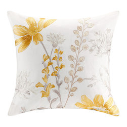 JLA Home - Yellow & Gray Floral Square Pillow - Add this cozy cotton pillow to the bed or couch for an extra-sunny botanical element. �� 18'' x 18'' Cover: cotton Fill: polyester Spot clean Imported