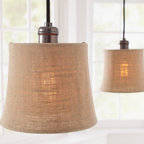 Burlap Shade Pendant Track Lighting - This burlap track lighting has a lovely organic feel to it.