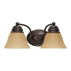 Nuvo Lighting - Empire Mahogany Bronze Two-Light Energy Star Bath Fixture with Champagne Washed - Empire Mahogany Bronze Two-Light Energy Star Bath Fixture with Champagne Washed Linen Glass Nuvo Lighting - 60/3126