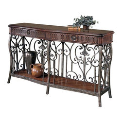Hekman Furniture - Loire Valley Console Table - One fixed shelf. Metal grill base. Warranty: One year. Made from select hardwood solids and veneers. Distressed chateau finish. 69 in. W x 19 in. D x 39 in. H