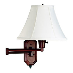 Kenroy Home - Kenroy Home Nathaniel Bronze Plug-in Swing Arm Wall Light - A classic swing arm wall light in an easy-to-install plug-in style, from the Kenroy Home lighting collection. The classic Nathaniel swing arm will look great next to a bed headboard or used by a favorite reading chair. The plug-in style design is easy to install - just attach to the wall and plug into any standard outlet. The wall plate and swing arm come in a bronze finish. The shade is an off-white fabric with self trim. With a three way socket for even greater lighting control. From the Kenroy Home lighting collection.