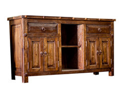 Reclaimed Double Sink Vanity - This is a gorgeous, handcrafted double sink vanity crafted from 100% reclaimed wood. Our reclaimed wood comes from a collection of old barns and corrals in Mexico and then is sanded down to a smooth touch. Each piece is then finished with a hand rubbed wax that helps protect the wood. The top is sealed with coats of polyurethane to protect the wood from water damage.