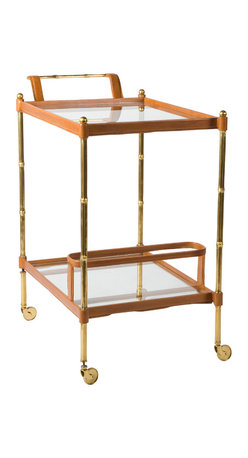 BAR CART BRASS / GLASS INLAY - Bamboo Cast Brass Bar Cart, Leather Inlay with Stitching, Inset Clear Glass
