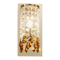 Kolarz - Top quality from Vienna - Kolarz - Top quality from Vienna Charleston Noblesse wall lamp small - Charleston Noblesse wall lamp small is part of a collection of High End light fixtures made in Vienna, Austria by Kolarz. This light series is designed by artistique minds using the finest materials, metal and crystal, beeing a unique creation and fashioned to reflect individual personality and lifestyle. Charleston Noblesse consists of a semirounded frame mounted on the wall from which are cascading gorgeous strings of Swarovski elements in different sizes and shapes and its brightness is emphasized by a square mirror that sits in the back of the lampshade. The fixture is handmade in EU and is available in two versions, the first one with chrome finishes and clear and blue Swarovski crystals and the second in 24k gold finishes with clear and amber Swarovski crystals. Combining its distinctive design with the highest quality of its materials the wall light is a luxury path for both commercial and residential interiors. Illumination is provided by G9, 40W Halogen bulb (not included).      Product Details: Charleston  Noblesse wall lamp small is part of a collection of High End light fixtures made in Vienna, Austria by Kolarz. This light series is designed by artistique minds using the finest materials, metal and crystal, beeing a unique creation and fashioned to reflect individual personality and lifestyle. Charleston Noblesse consists of a semirounded frame   mounted on the wall from which are cascading gorgeous strings of  Swarovski elements in different sizes and shapes and its brightness is emphasized by a square mirror that sits in the back of the lampshade.   The fixture is handmade in EU and is available in two versions, the first one with chrome finishes and clear and blue Swarovski crystals and the second in 24k gold finishes with clear and amber Swarovski crystals. Combining its distinctive design with the highest quality of its materials the wall light