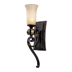 Golden Lighting - Portland 1-Light Wall Sconce - No wallflower, this sconce adds plenty of drama in the foyer, hallway or stairwell. A multistep, hand-painted finish in fired bronze gives it this incredible, burnished luster, with hints of gold standing out among red and silver highlights. An elongated birch glass shade adds to the effect.