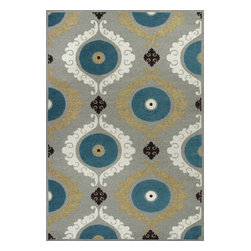 """KAS - KAS Mulberry 3400 Suzani (Silver, Teal) 7'9"""" x 9'9"""" Rug - This Hand Woven rug would make a great addition to any room in the house. The plush feel and durability of this rug will make it a must for your home. Free Shipping - Quick Delivery - Satisfaction Guaranteed"""
