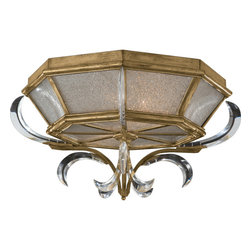 Fine Art Lamps - Beveled Arcs Gold Flush Mount, 767640ST - Enjoy the extravagance of a crystal chandelier with the practicality of a flush-mount fixture. Your favorite room will revel under muted gold leaf and graceful beveled crystals.