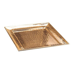 Old Dutch International - 13.5 in. Square Decor Copper Hammered Tray - Copper plated. Made from stainless steel. Copper finish. 13.5 in. L x 13.5 in. W x 1 in. H (2.8 lbs.)