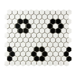 None - SomerTile Victorian Hex 1-inch Matte White Heavy Flower Porcelain Mosaic Tiles ( - Reminiscent of Victorian-era tile mosaics,this Somertile tile set features a smooth,matte finish for a clean,stylish look. These tiles are perfect for any setting whether it's modern construction or a historical renovation.