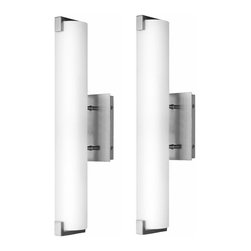 Linea di Liara - Carino Wall Sconce Two-Light Lamp with White Frosted Glass Shade - 2 pack, Brush - The Carino Wall/Bath sconce is designed to coordinate with a variety of environments from sleekly modern to warm transitional and beyond.  Purity is achieved by a single seamless frosted glass cylinder and polished chrome or brushed nickel finishes.