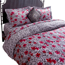 "koi Design - Figaro Duvet Set - A fresh pattern of cheery red flowers with black leaves on a crisp white background says ""home."" Such a pretty design on 300-thread count, cotton sateen sheets will call you to relax in bed even when you're not sleeping."