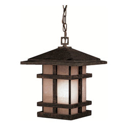 Kichler 1-Light Outdoor Fixture - Aged Bronze Exterior - One Light Outdoor Fixture. With rustic charm as unique as its design, the cross creek collection puts a modern spin on a classic fixture. Each piece is constructed from long lasting cast aluminum ensuring a quality fit and finish that will last for ages. Our aged bronze finish adds a distressed appearance to the piece, while textured linen seedy glass panels additional warmth make the cross creek collection the perfect balance of ambiance, style, and value. This one light outdoor hanging lantern from the cross creek collection uses 150-watt bulbs and is 14 high. It is UL listed for damp location.