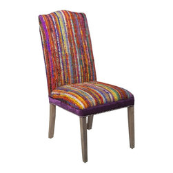 "Surya - Multicolor Silk Strands Chair by Surya - A textural masterpiece of bright silk strands earns this chair an eye-catching award. Creatively upholstered on a solid wood base with a royal purple banding and silver nail heads around the seat cushion. As a solo bedroom seat or around a dining table, this chair will provide a brilliant focal point. (SY) 20"" wide x 43"" high x 22"" deep"