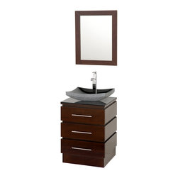 "Wyndham Collection - Wyndham Collection 22"" Rioni Single Sink Vanity in Espresso w/ Smoke Glass Top - The Wyndham Collection presents another exclusive design, the Rioni pedestal bathroom vanity. Three drawers provide ample storage and the contemporary styling is elegant in any modern bathroom setting. Choose a clean white countertop and sink or make a make bold statement with smoke glass."