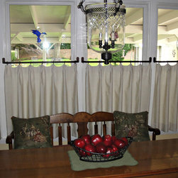 Cafe Curtains - Cafe curtains with hardware/rings furnished and installed by Kite's Interiors.