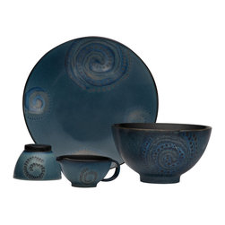 Red Vanilla - Red Vanilla Organic Blue 5-piece Serve Set - Add a pop of color to your table setting with this bold reactive glaze dinner set. Each piece in this set features slightly color variations and is patterned with a galaxy-like spiral pattern,making for a truly unique table setting.