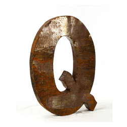 """Kathy Kuo Home - Industrial Rustic Metal Large Letter Q 36""""H - Create a verbal statement!  Made from salvaged metal and distressed by hand for an imperfect, time-worn look."""