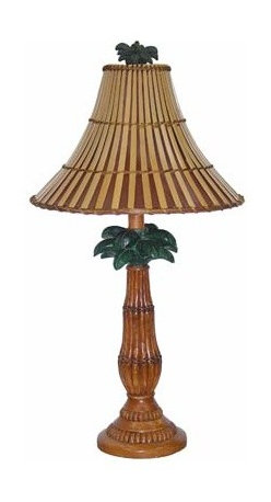 Papila Design - Tropical Light Tea Table Lamp with Split Bamboo Shade - -Natural look and feel  -Material: Resin  -Shade Shape: Round Bell  -Shade Material: Split Bamboo, Lining Papila Design - PR093