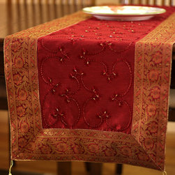 """Elegant Table Runners - Holidays Decor """"Saffron Red"""" Table Runner. Indian hand embroidered pattern. Dupion fabric. Perfect decor idea to embellish your room."""