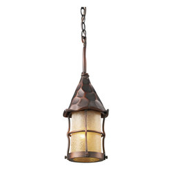 ELK - ELK 388-AC Outdoor Pendant - Bring Storybook Flair To An Old English, Cottage Or Spanish Revival-Style Home With The Rustica Collection. Hand-Hammered Iron And Scavo Seedy-Glass Cylinders Characterize This Series, Which May Be Ordered In Matte Black (Bk) With White Scavo Glass And Antique Copper (Ac) With Amber Scavo Glass.  They May Be Used In Both Indoor And Outdoor Locations.  (Ul Listed).