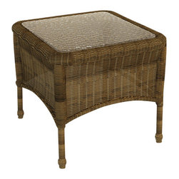 Forever Patio - Rockport Wicker Patio End Table, Brown Wicker - Complete the look and functionality of your Rockport patio set with the equally beautiful Rockport End Table (SKU FP-ROC-ET-CN). Its UV-protected Chestnut wicker and round-weave design creates a warm, traditional look that is made to last. This table also includes a tempered glass top, providing a beautiful and durable surface that is easy to maintain.