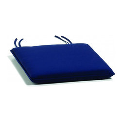 Oxford Garden - Side chair Cushion, Navy - Add comfort and style with our specially designed cushions.  All of our cushions are made of Sunbrella fabric.  Developed from 30 years' experience with awnings and boat, Sunbrella is made of durable, all weather solution-dyed acrylic.  Each cushion has ample length ties to keep your cushion in place even during those gusty days.  Single piping provides a clean looking finished edge.  Sunbrella feels soft and comfortable to the touch but is rugged outdoors.  It retains its color and strength while withstanding years of exposure to sunlight and rain. Quick drying, mold and mildew resistant, fire retardant throw pillow.