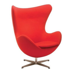 Nuevoliving - Nuevo Living Bolero Lounge Chair - Red - Talk about curve appeal. The Nuevo bolero accent chair is just oozing with contemporary flair. Constructed with a molded fiberglass frame and sturdy aluminum base, this madly mod accent chair swivels a full 360 degrees and features a bowl-shaped design that begs you to curl up inside and get cozy. Cfs foam padding and a seat cushion make it even more inviting, while the 85% wool/15% nylon blend upholstery ensures lasting quality. Choose between black or red - whatever fits your style. arrives fully assembled.