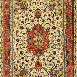 "Persian, Tabriz - Persian (Tabriz) Silk Hand Made Wool Rug 7' 0"" x 10' 0"" - Original Hand made rugs form michael rugs collections"